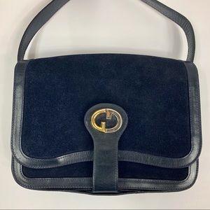 Vintage Gucci Suede & Leather Navy GG Logo Bag